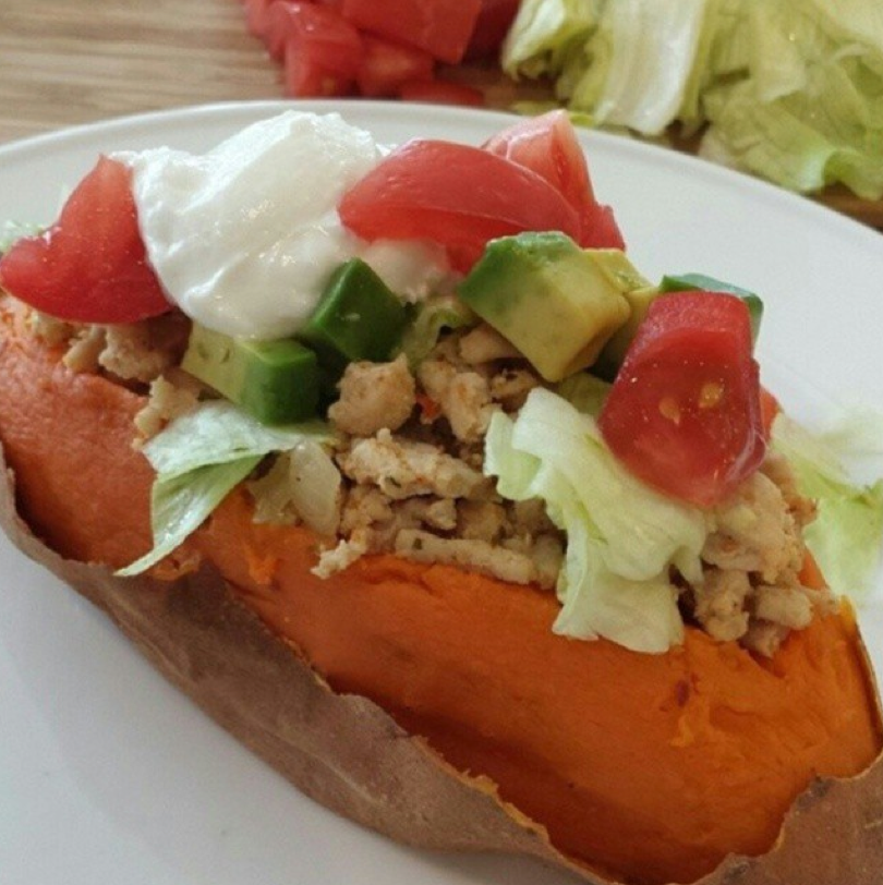 Taco Stuffed Sweet Potatoes https://cleanfoodcrush.com/taco-sweet-potatoes