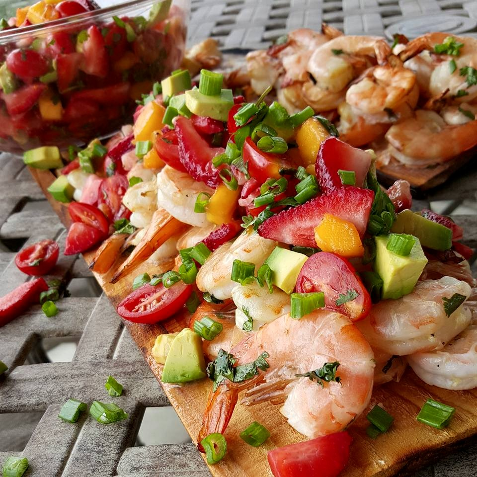 Cilantro Lime Grilled Shrimp with Strawberry-Mango Salsa