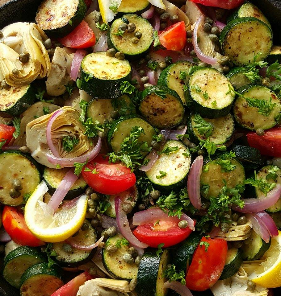 Clean Eating Greek Inspired Summer Veggie Skillet Recipe https://cleanfoodcrush.com/summer-veggie-skillet/
