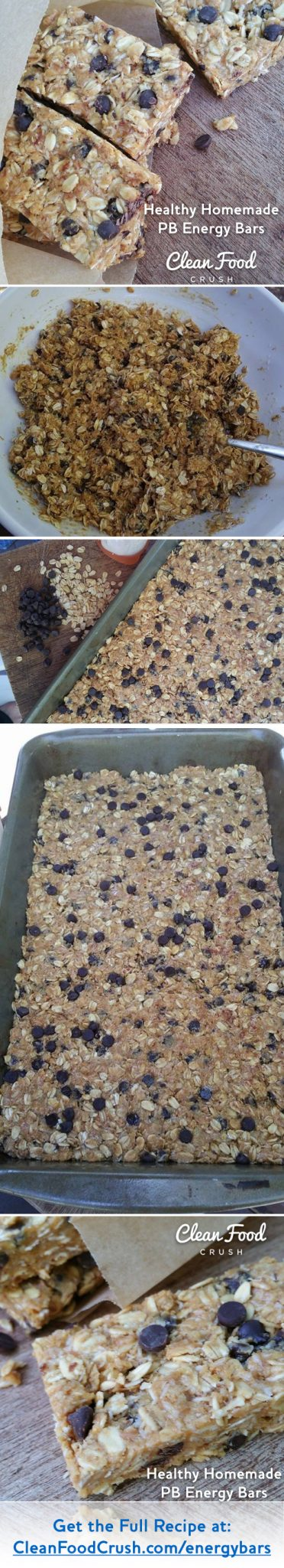 Clean Eating Healthy Homemade PB Energy Bars CleanFoodCrush https://cleanfoodcrush.com/No-Bake-Energy-Bars