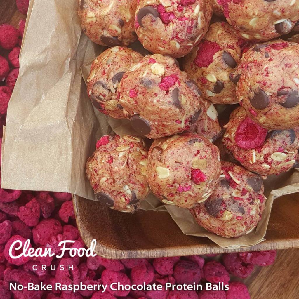 No-Bake Raspberry Chocolate Protein Balls https://cleanfoodcrush.com/raspberry-choc…-protein-balls