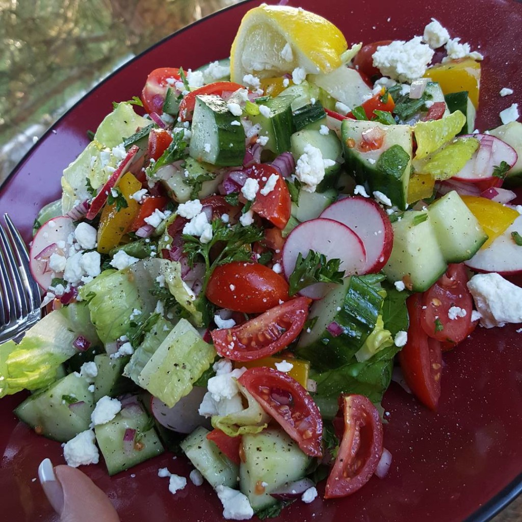 Summer Garden Detox Salad with Feta and Lemon https://cleanfoodcrush.com/garden-detox-salad