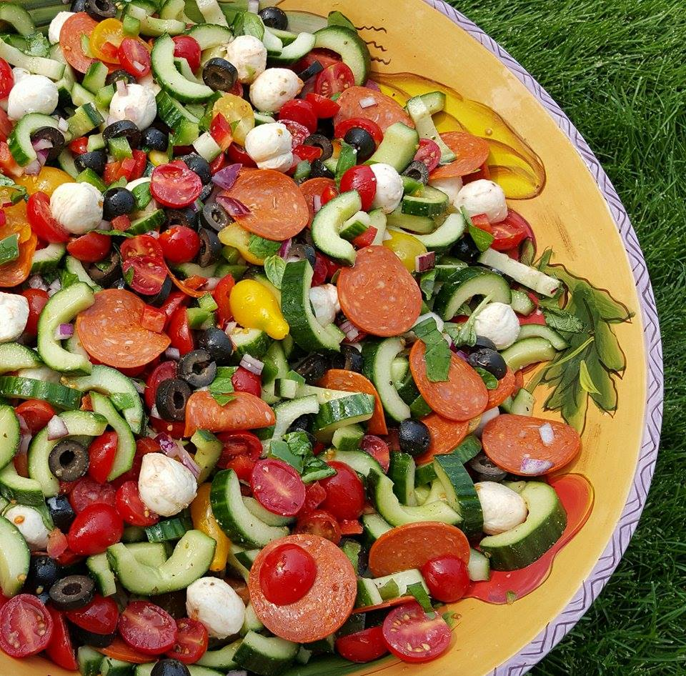 Clean Eating Supreme Pizza Salad https://cleanfoodcrush.com/supreme-pizza-salad/