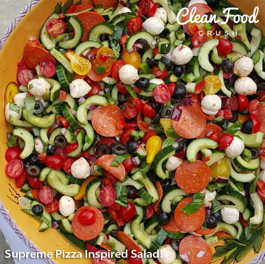 Supreme Pizza Inspired Salad https://cleanfoodcrush.com/supreme-pizza-inspired-salad