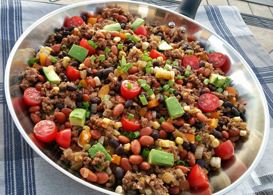 Recipe for Clean Taco Dinner Skillet https://cleanfoodcrush.com/taco-skillet/