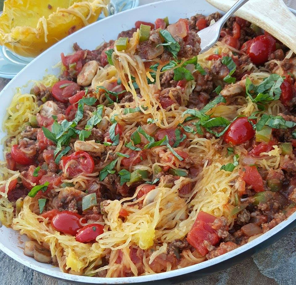 Clean Simple Spaghetti Squash Skillet Recipe https://cleanfoodcrush.com/spaghetti-squash-skillet/