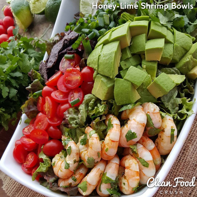 Honey-Lime Shrimp Bowls with Homemade Clean Dressing