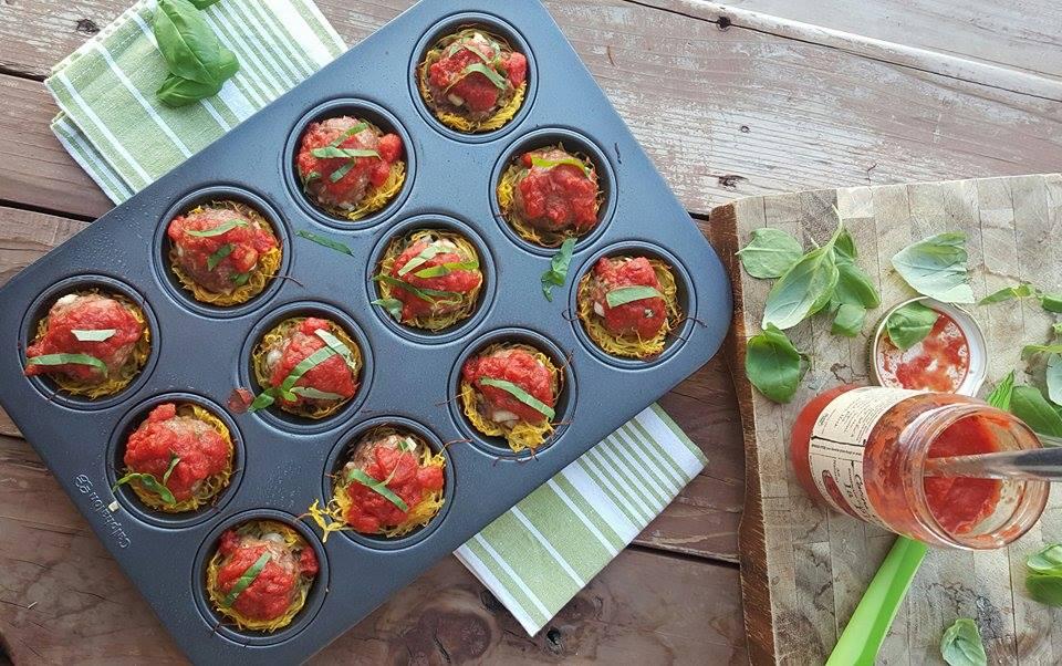 Italian Meatballs in Spagetti Squash Cups