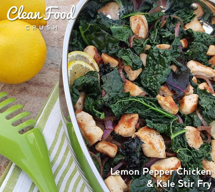 Lemon Pepper Chicken & Kale Stir Fry https://cleanfoodcrush.com/lemon-pepper-chicken-kale-stir-fry