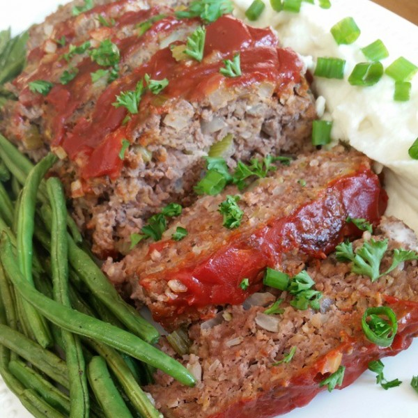 Meatloaf Cauliflower Mashed Quot Potatoes Quot Amp Roasted Green Beans Clean Food Crush