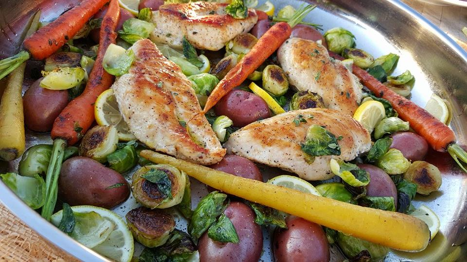 Skillet Chicken with Carrots Brussel Sprouts and Red Potatoes Recipe https://cleanfoodcrush.com/skillet-chicken-spring-veggies/