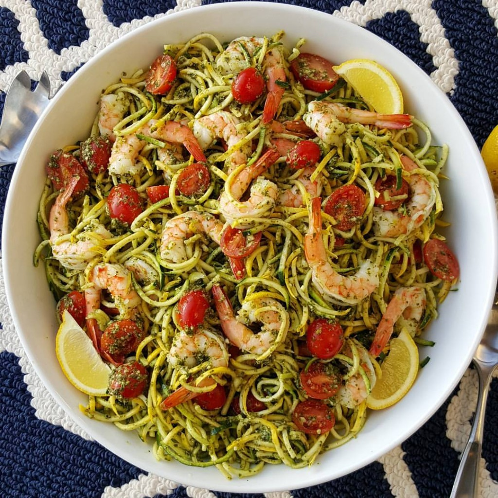 Fresh Pesto, with Shrimp Zoodles Clean Eating Recipe https://cleanfoodcrush.com/pesto-shrimp-zoodles/
