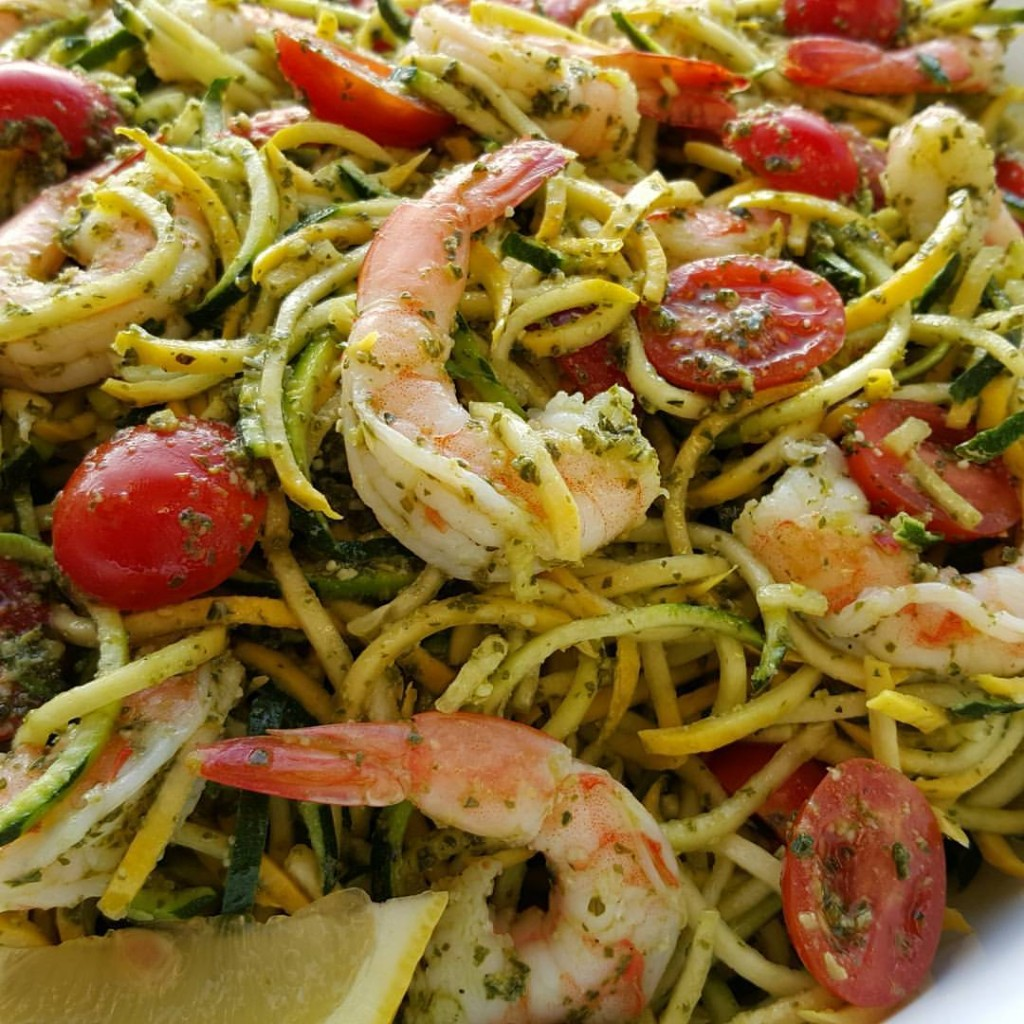 Fresh Pesto, with Shrimp Zoodles Recipe https://cleanfoodcrush.com/pesto-shrimp-zoodles/