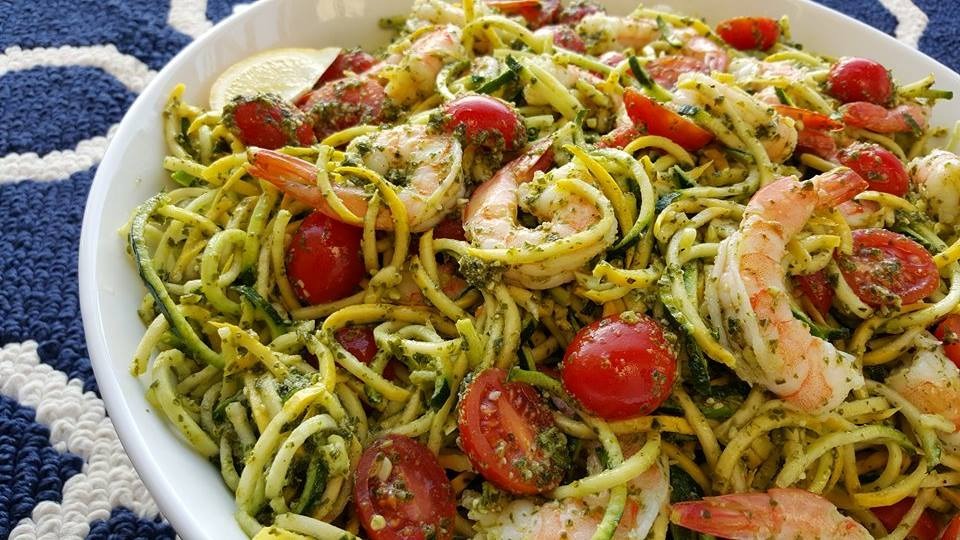Fresh Pesto with Shrimp & Zoodles Recipe CleanFoodCrush https://cleanfoodcrush.com/pesto-shrimp-zoodles/