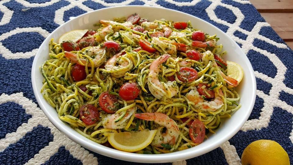 Fresh Pesto, with Shrimp and Zucchini Noodles https://cleanfoodcrush.com/pesto-shrimp-zoodles/