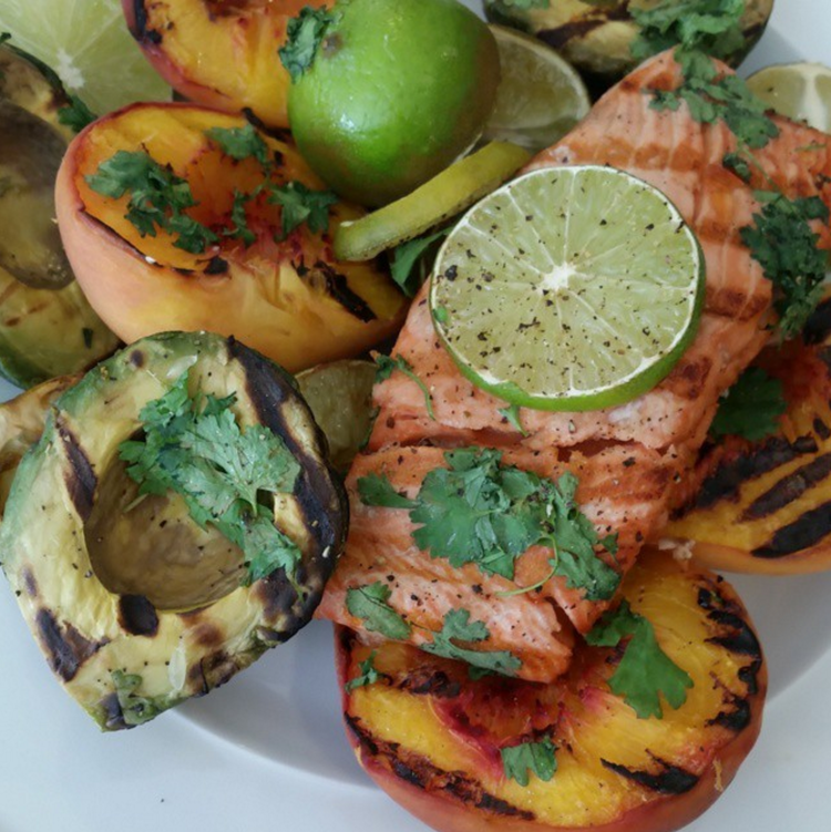 Grilled Salmon Avocados and Peaches