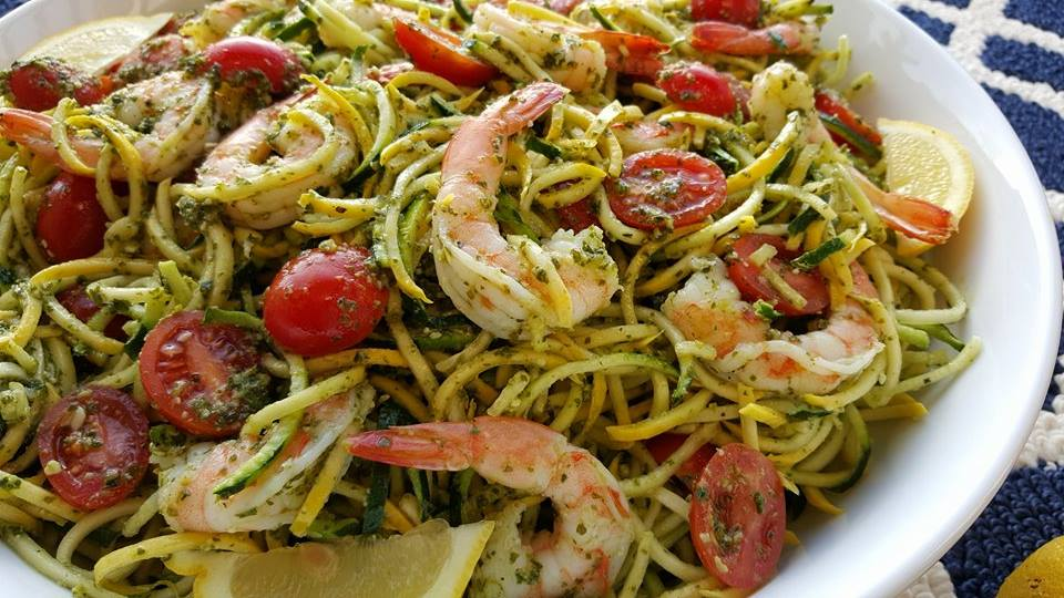 Shrimp Zoodles with Fresh Pesto Recipe https://cleanfoodcrush.com/pesto-shrimp-zoodles/
