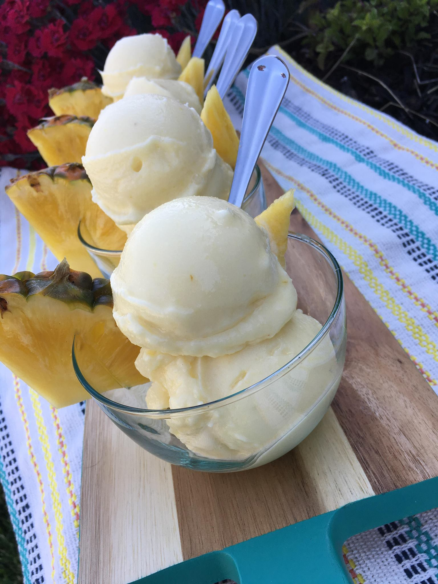 Clean Eating Frozen Whipped Pineapple Ice Cream https://cleanfoodcrush.com/pineapple-whip/
