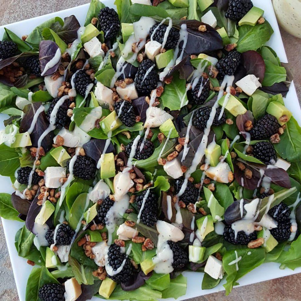 Blackberry Turkey Avocado Spring Salad with Lemony Poppyseed Dressing