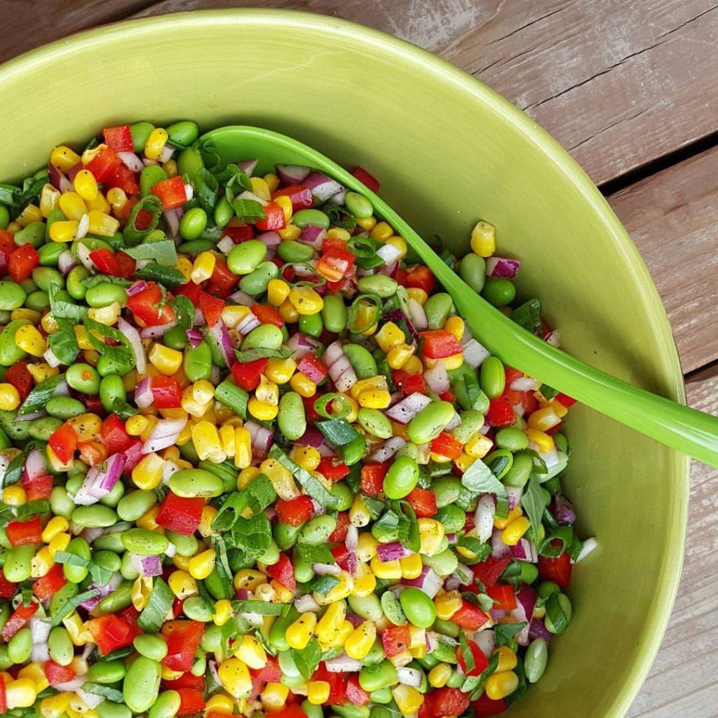 Edamame Summer BBQ Salad Recipe https://cleanfoodcrush.com/edamame-salad/