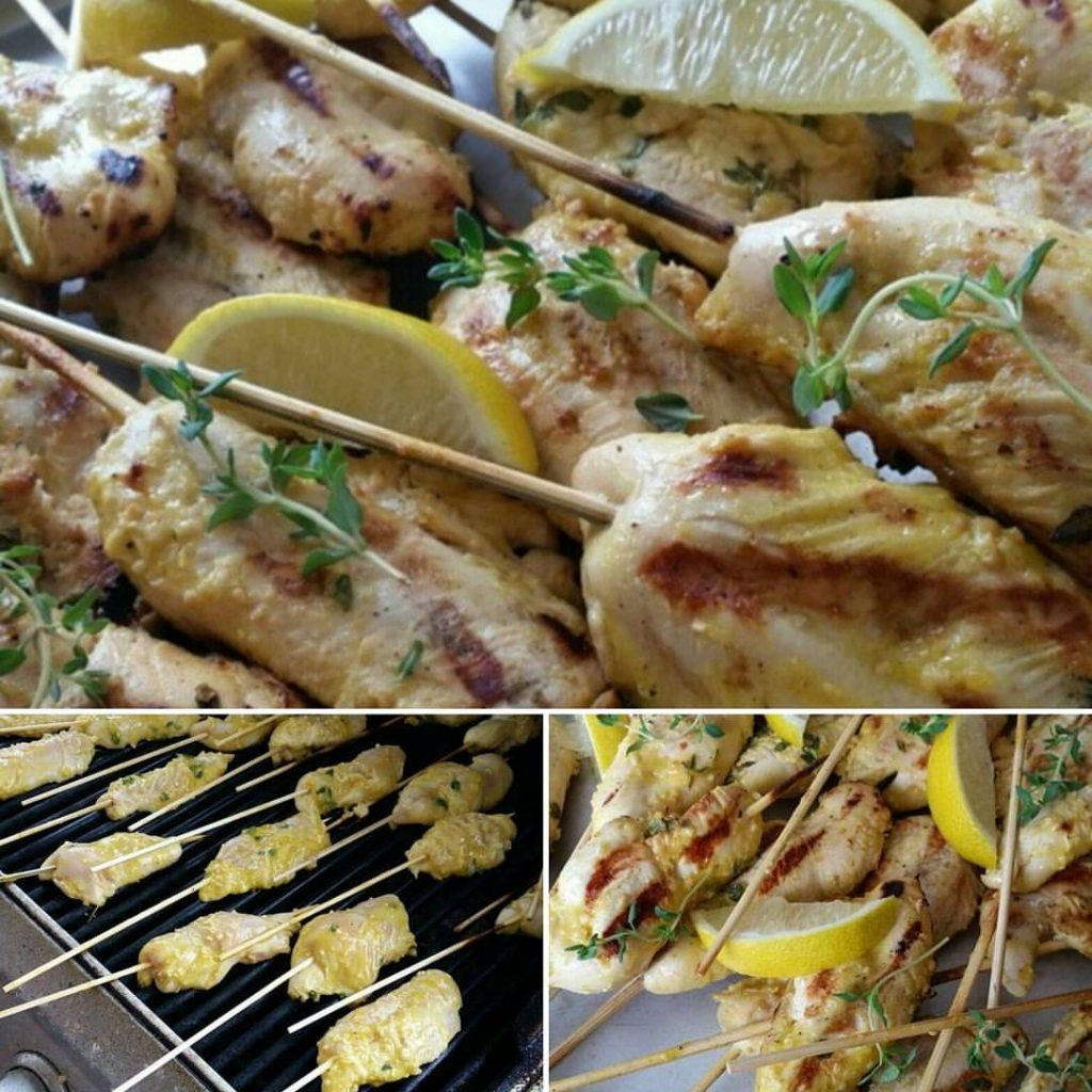 Lemon-Thyme Chicken Tenders on a Stick
