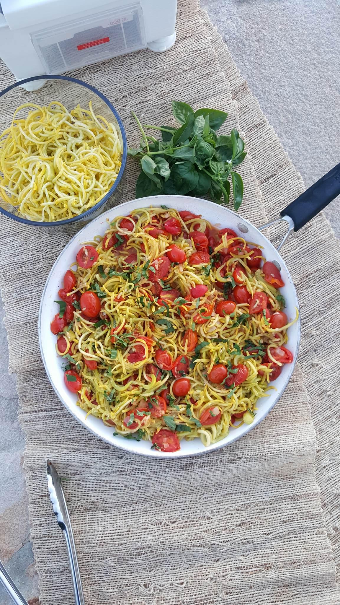 Yellow Summer Squash 'Spaghetti' with Roasted Tomato Sauce Recipe