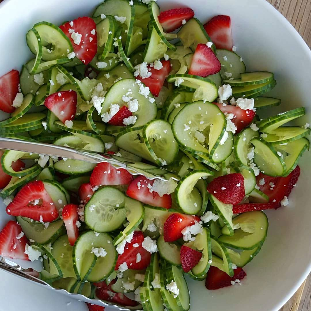 Cucumber Strawberry Salad With Homemade Poppyseed Dressing
