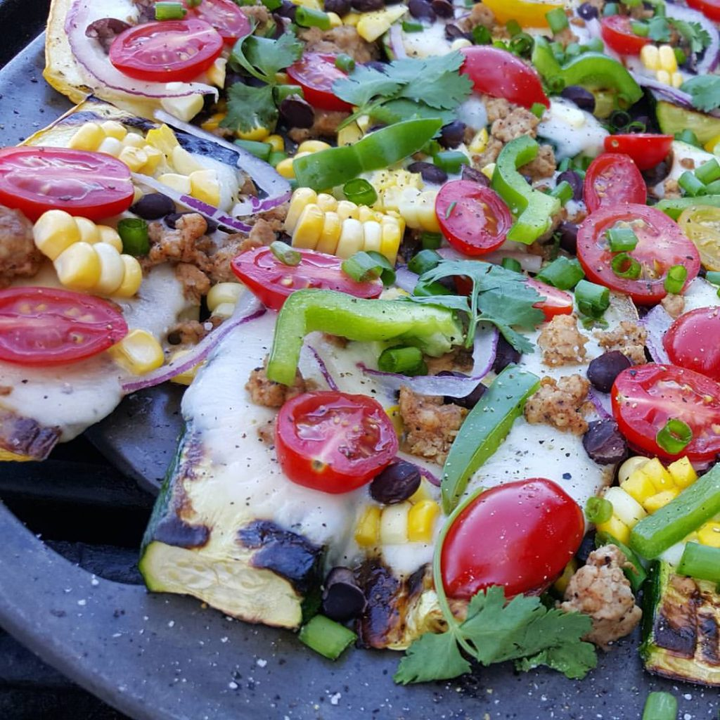 Grilled Zucchini Mexican Pizzas https://cleanfoodcrush.com/mexican-pizza/