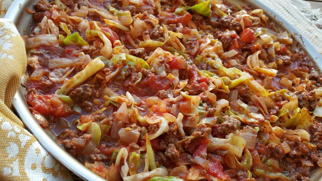 One Pan Grass-fed Beef and Cabbage Skillet Clean Eating Recipe https://cleanfoodcrush.com/beef-cabbage-skillet/