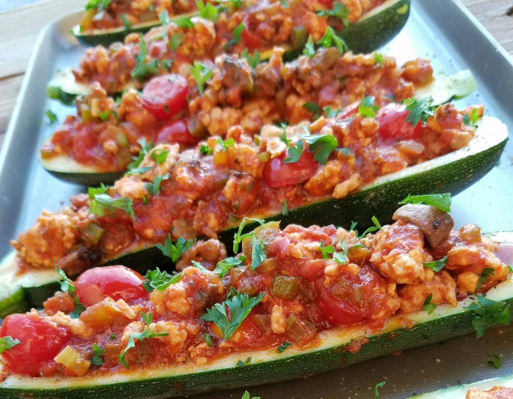 Italian Stuffed Zucchini Boats https://cleanfoodcrush.com/italian-stuffed-zucchini/