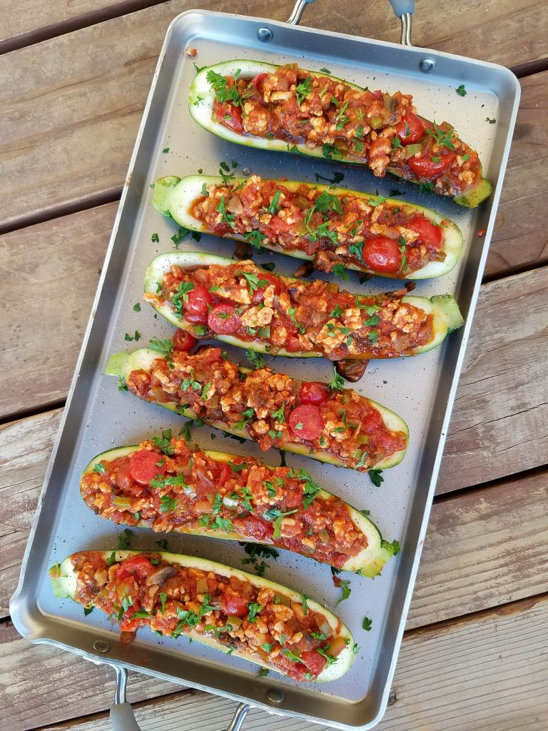 Italian Stuffed Zucchini Clean Eating Recipe https://cleanfoodcrush.com/italian-stuffed-zucchini/