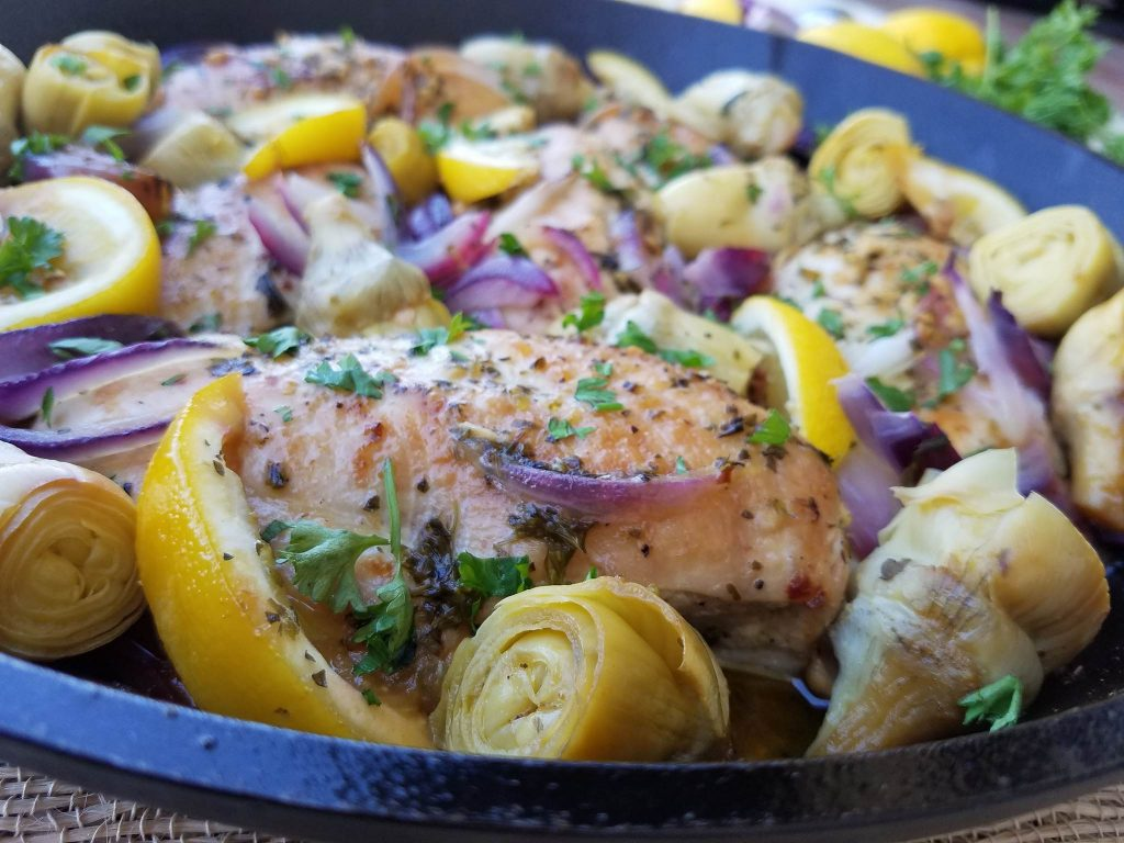 1-Pan Lemon Artichoke Chicken 1-Pan Lemon Artichoke Chicken Recipe https://cleanfoodcrush.com/lemon-artichoke-chicken/
