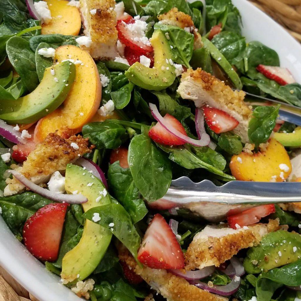 Crispy Quinoa Chicken & Strawberry Spinach Salad