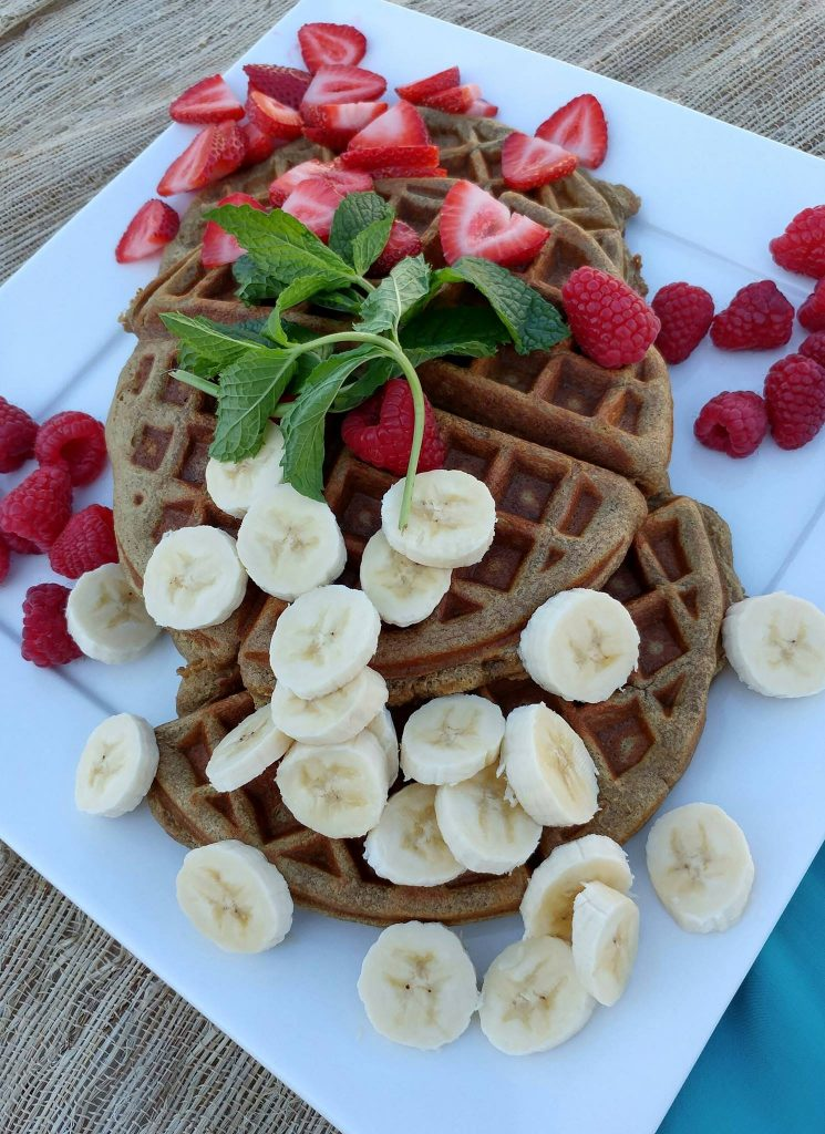 Grain free Banana Almond Waffles Recipe  https://cleanfoodcrush.com/banana-almond-waffles/