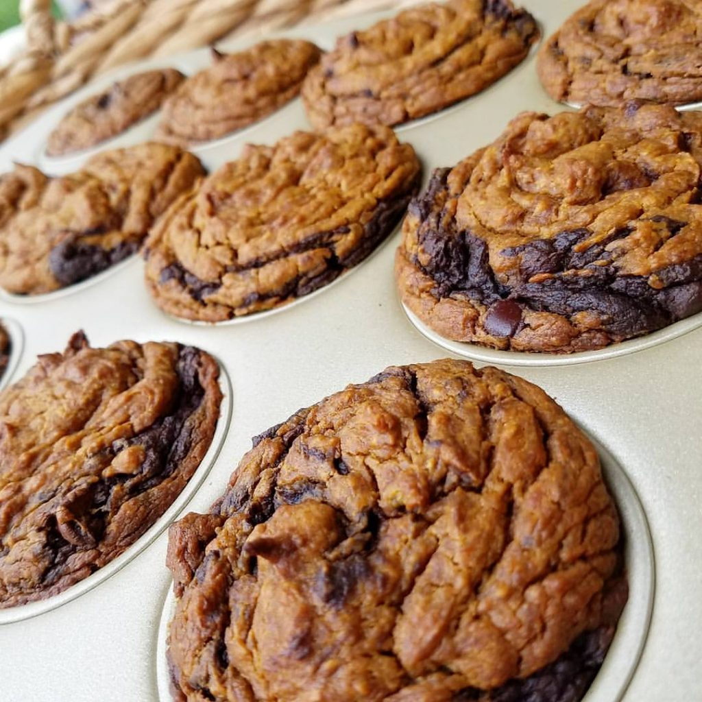 Chocolate Pumpkin Swirl Muffins