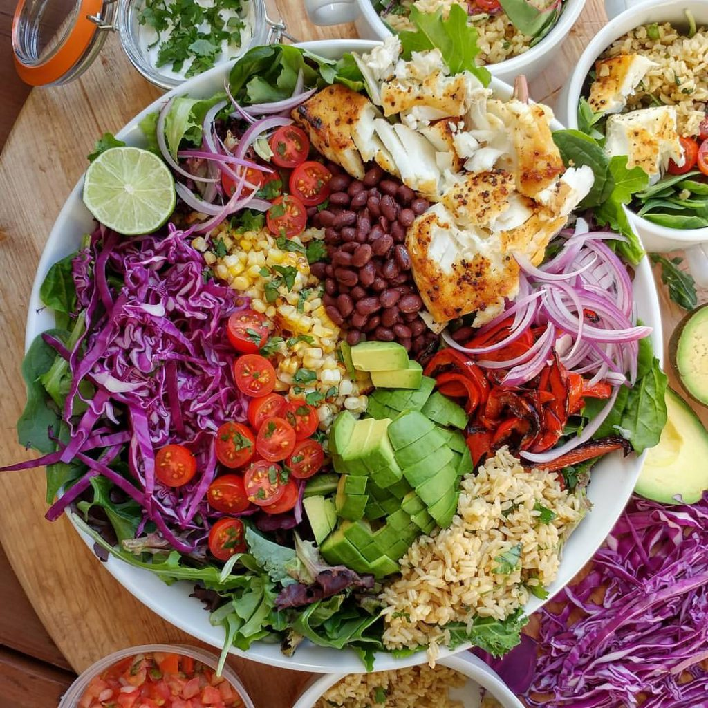 Healthy fish taco bowl