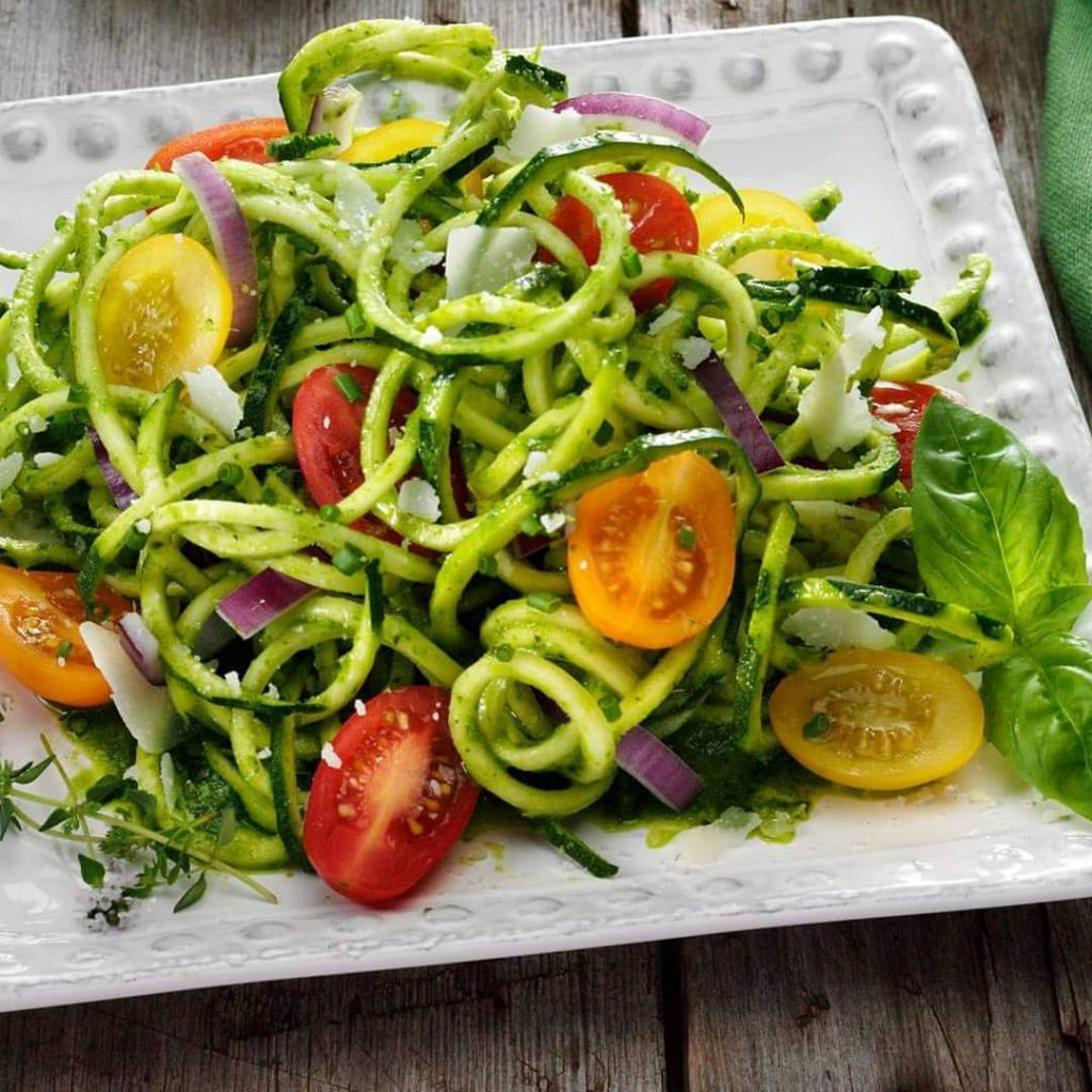 Zoodles tossed with my FAVORITE Chimichurri sauce!