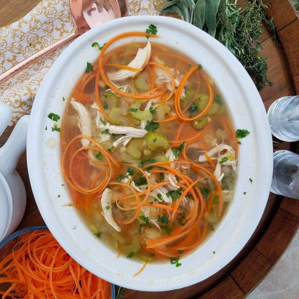 """Delicious Crock-Pot Chicken Carrot """"Noodle"""" Soup!"""