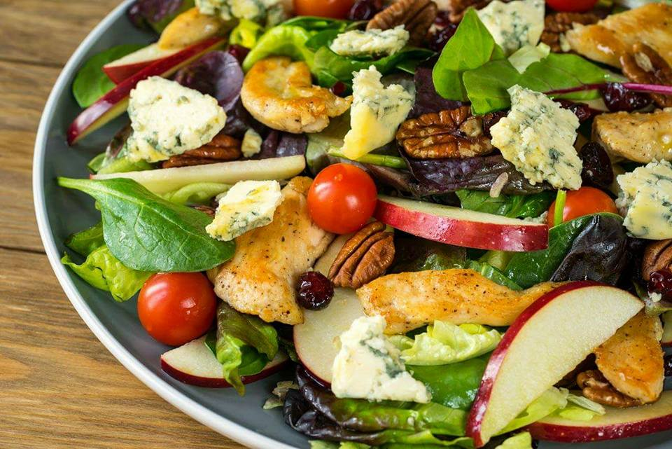 Chicken and Apple Salad with Blue Cheese and Pecans