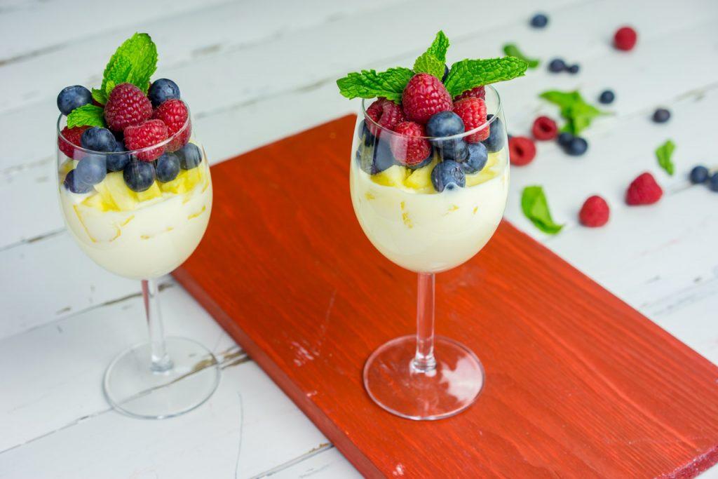 Berries pineapple yogurt parfait dessert
