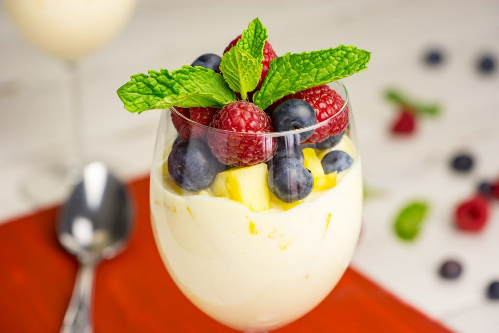 Healthy berries pineapple yogurt parfait