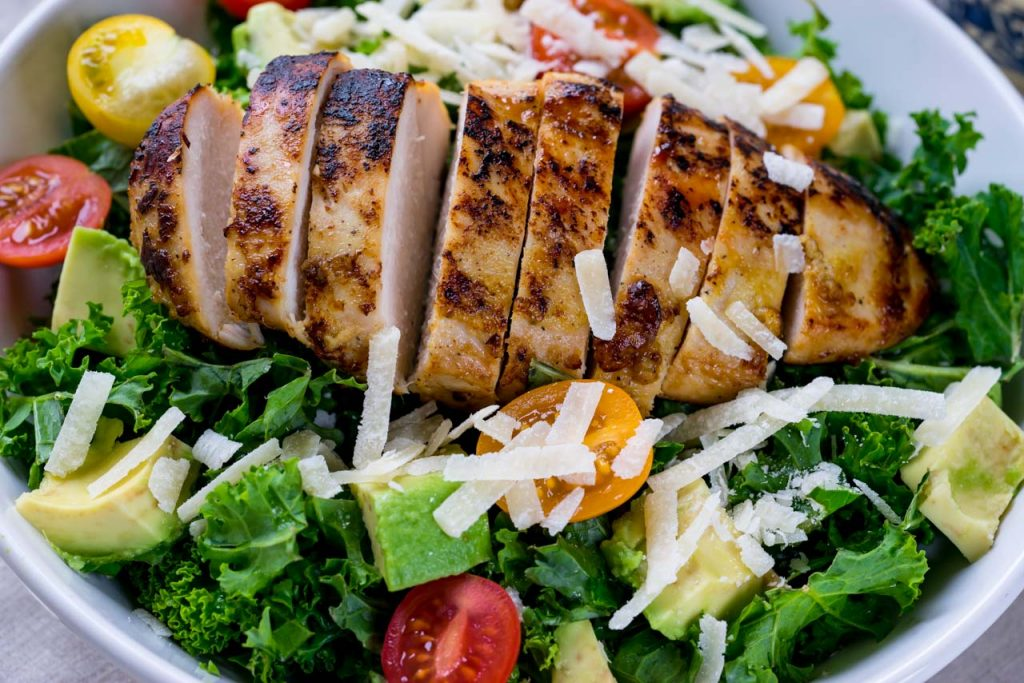 Healthy Kale Chicken Caesar Salad recipe