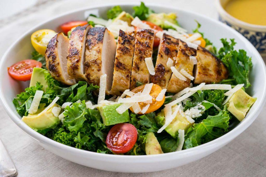 Fresh kale and Caesar chicken salad recipe