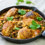 One pot smoky chicken with chickpeas and kale