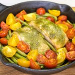 Pesto Salmon with Green Beans and Tomatoes