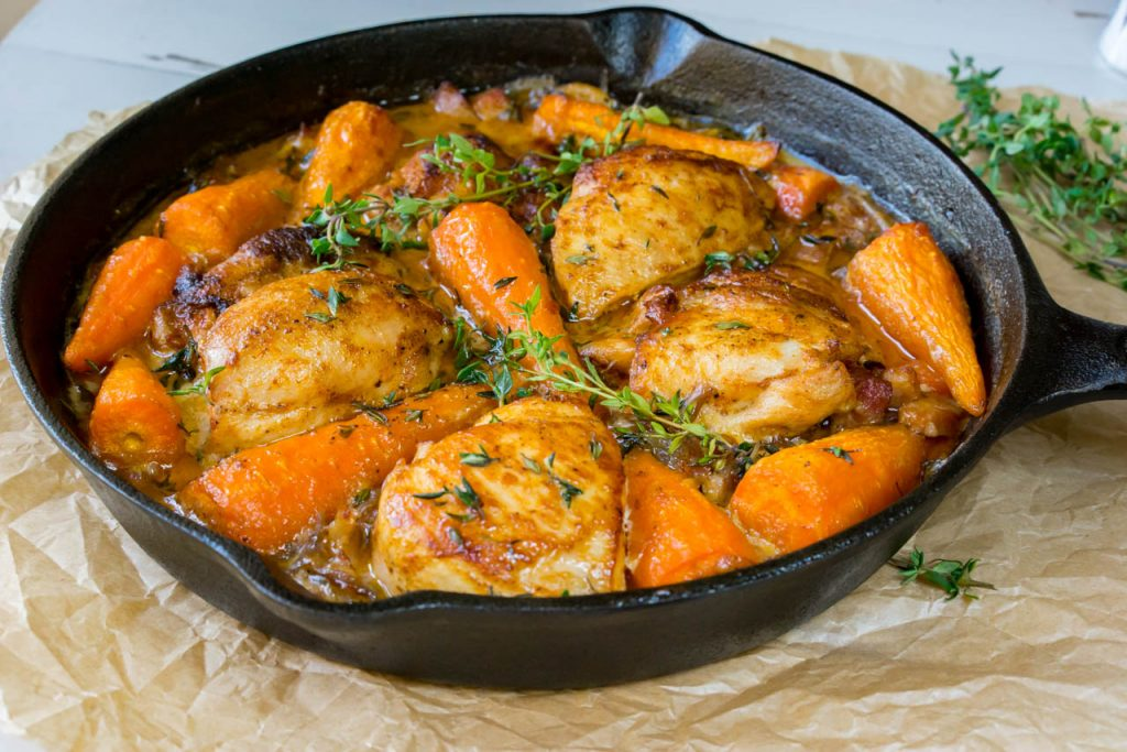 skillet chicken with carrots and bacon cleanfoodcrush