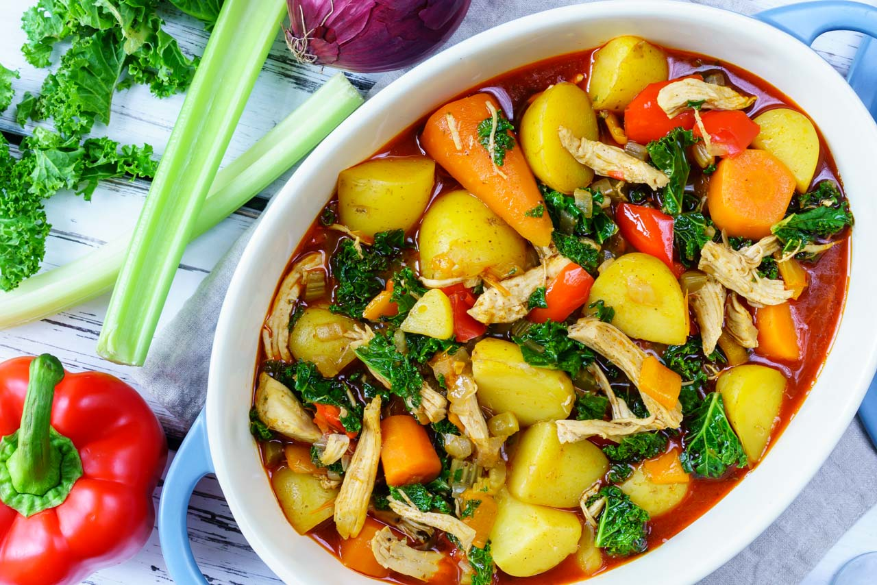 Clean Food Chicken Curry with Kale and Winter Root Veggies