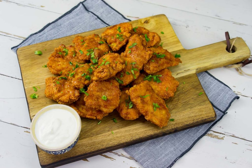 Sweet and Spicy Chicken Tenders with white sauce