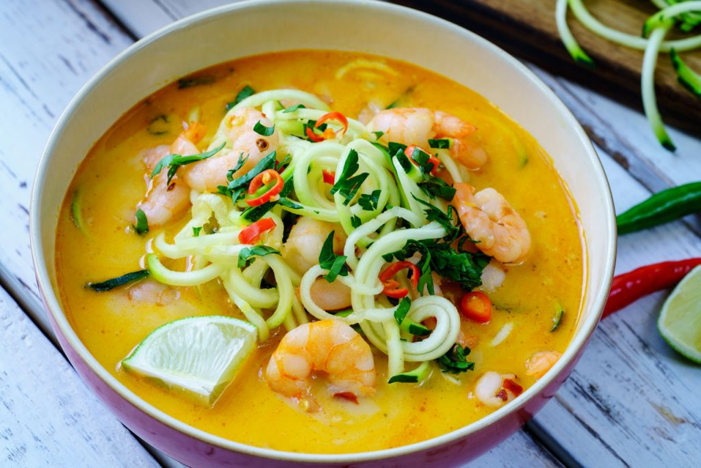 Spicy vegetable soup with Shrimp