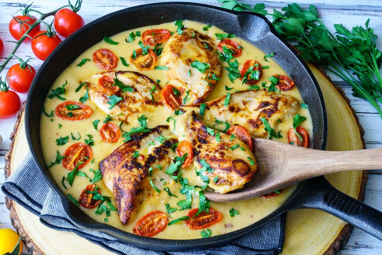 Creamy Garlic & Tomato Basil Chicken Skillet Eat Clean